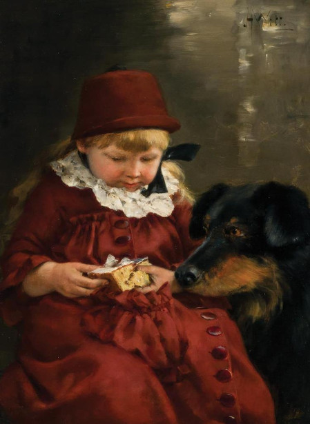 Little Girl Sharing Cake With Her Dog