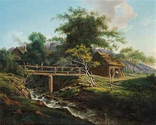 Mountain Scene - Two People Crossing A Bridge