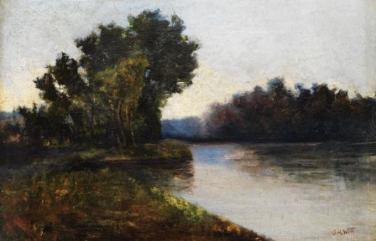 River Landscape With Trees On The Bank Under A Cloudy Sky