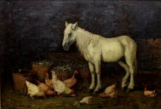 Standing Horse And Chicken Feeding