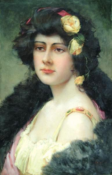 Woman With Yellow Roses