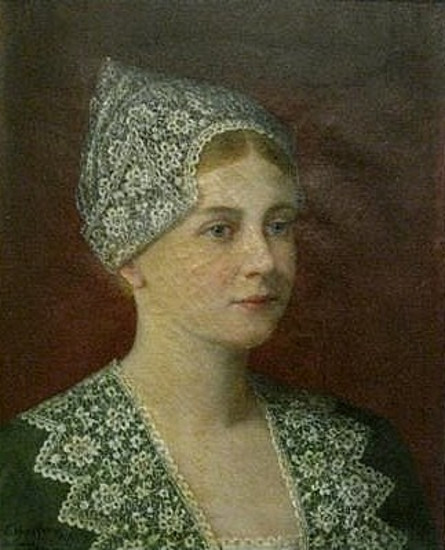 Bust Of Dutch Woman In Green With Lace Hat