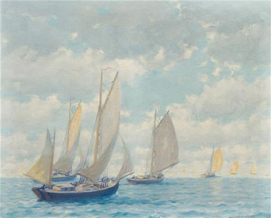 Departure Of The Fishing Fleet Off Cape Cod, Mass.