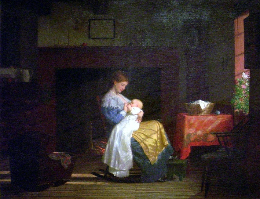 Mother And Child - Mother Nursing A Child In An Interior