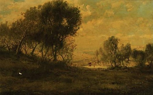 A Wooded Landscape With Cattle Watering In A Pond