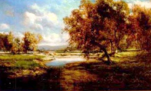 Autumnal Landscape With Cattle Grazing At A Stream