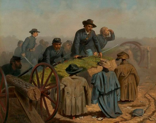Confederate Decoys - Union Soldiers Find Dummy Defenders And Wooden Cannon