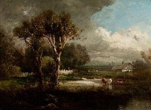 Landscape With Cattle In Stream