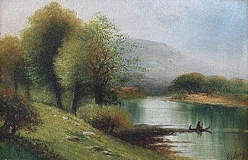 Man Paddling In A River Landscape