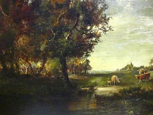Pastoral Scene With Cattle Watering At A Stream