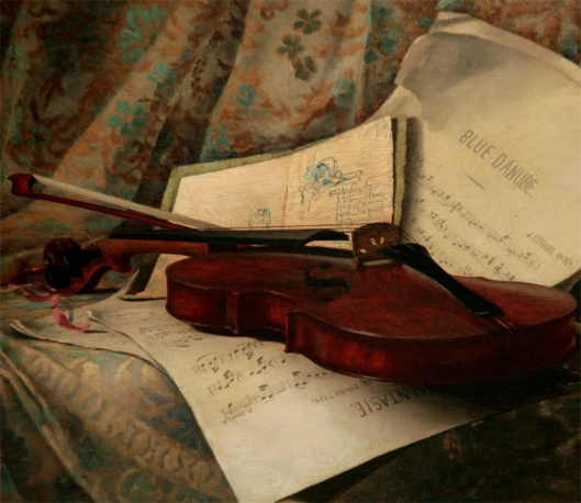 Still Life With Violin And Blue Danube Music
