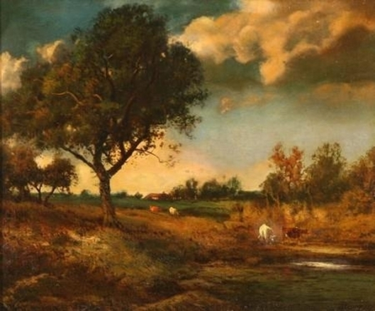 Twilight Landscape With Sheep