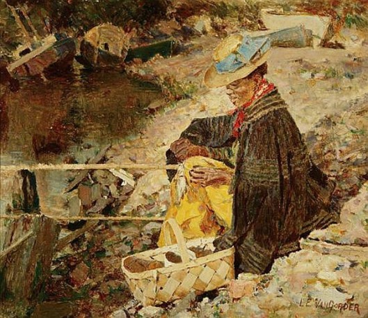 Woman Fishing By The Riverbank