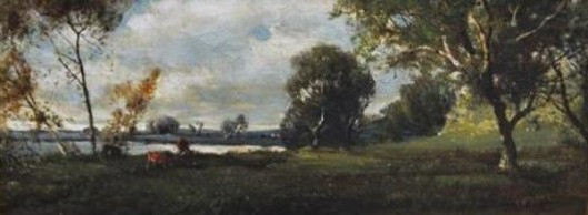Wooded River Landscape With Grazing Cattle