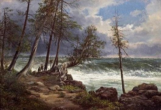 A Coastal Path And Stormy Sea