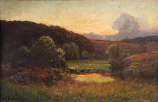 A Pond With Rolling Hills Beyond