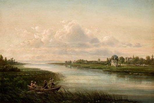 A River Scene With A House