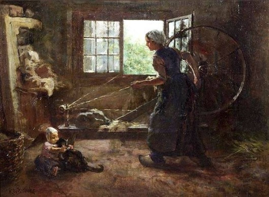 Dutch Interior Scene With Woman Spinning Yarn, Baby On Floor With Cat