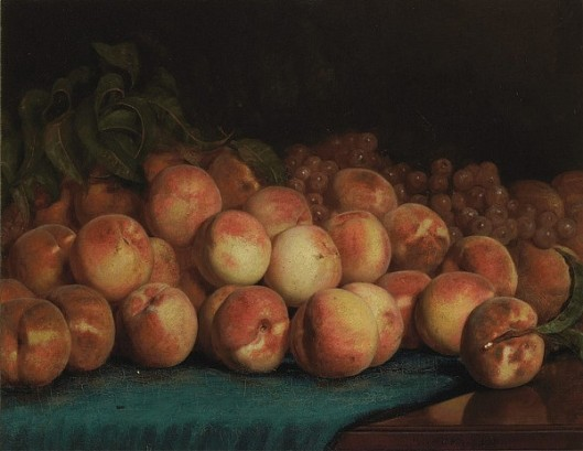 Peaches And Grapes On A Cloth Covered Table