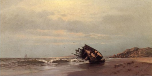 Shipwreck On A Sandy Beach