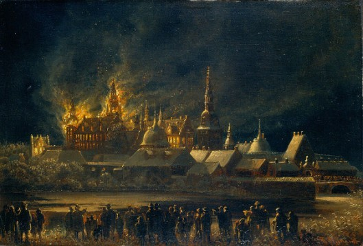 The 1859 Fire At Frederiksborg Palace In Hillerød