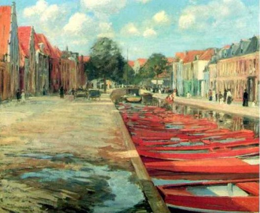 Wharf Of Red Boats