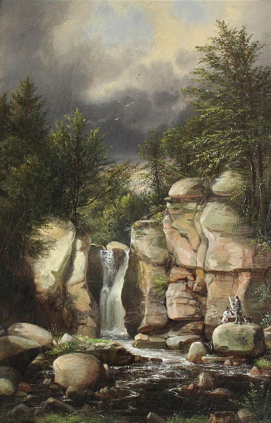 Artist With Easel By A Waterfall In The Catskills