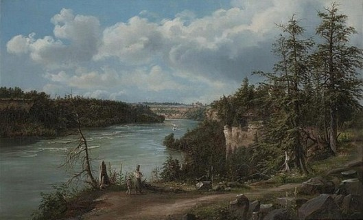 View Of The Niagara River With Steamboat And Suspension Bridge Over The Gorge