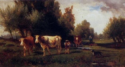 A Woman And Her Dog Leading Cows Across A Stream