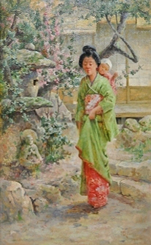 Japanese Woman In Flowered Garden