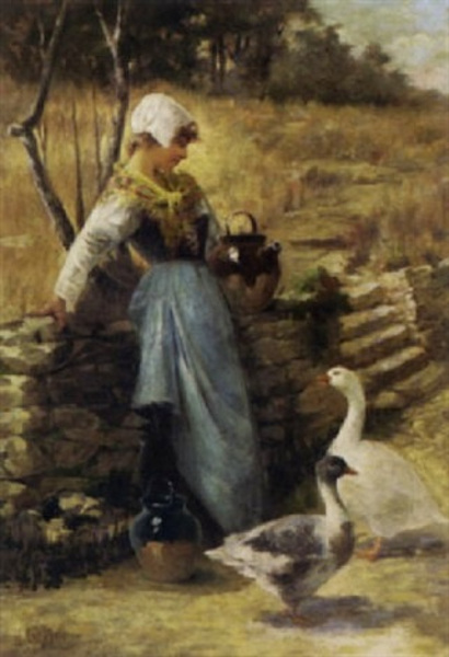 Peasant Girl With Geese