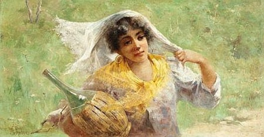 Peasant Woman With Chianti Bottle