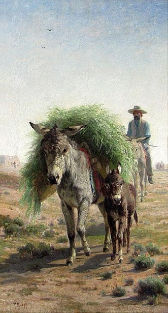 Southwestern Scene With Donkey Loaded With Harvest