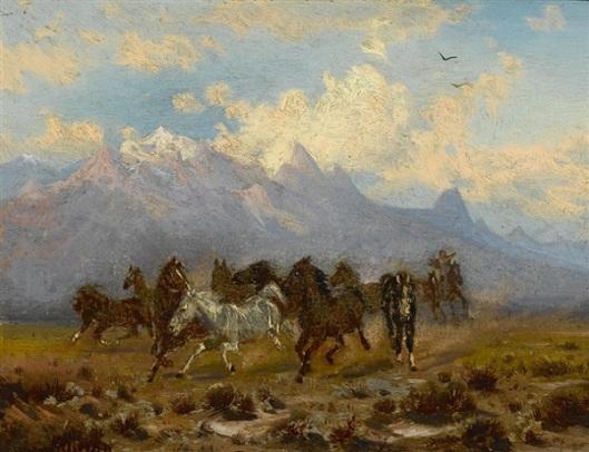Wild Horses Beneath The Tetons, Wyoming