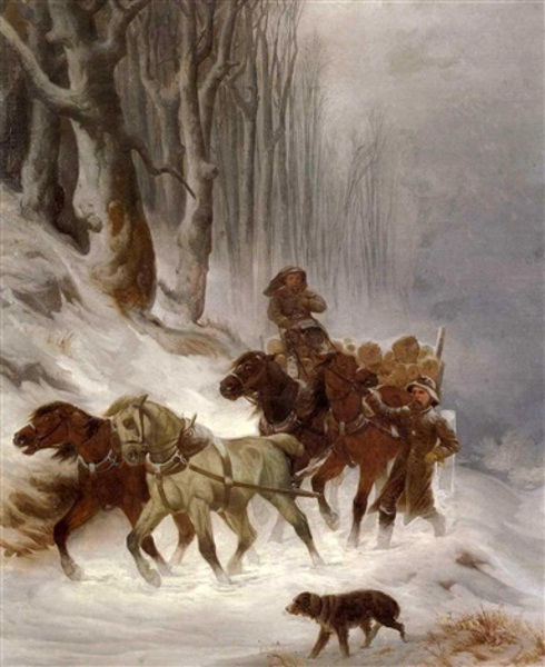 Winter Landscape With Figures And A Dog Beside A Team Of Horses