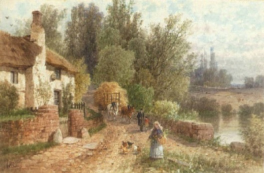 Country Landscapes With Figures On A Pathway