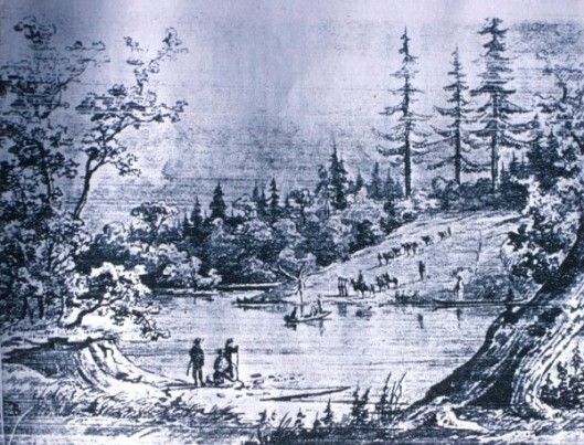 Emmons's Party, Wilkes Expedition, Fording The Yamhill River