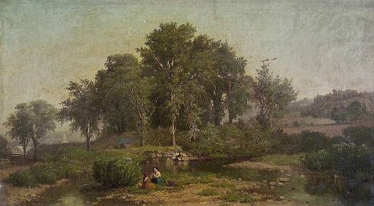 Girls Playing By A Stream On The Edge Of Town