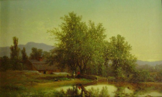 Landscape With Pond, Barn And Figures