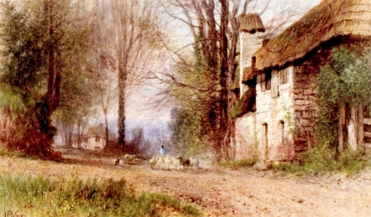 Pastoral View - Village Lane With Shepherd And Flock