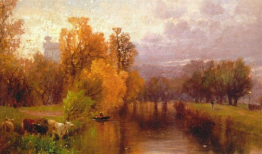 River Landscape With A Distant Town