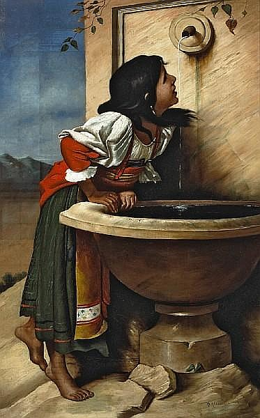 Roman Girl At A Fountain (after Léon Joseph Florentin Bonnat)