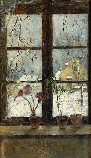 Snow Scene Through A Winter Window