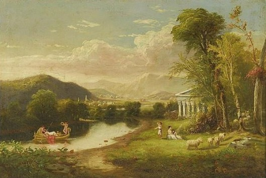 Classical Scene With Cherubs, A Temple And A Swan Boat With Figures And Distant Mountains