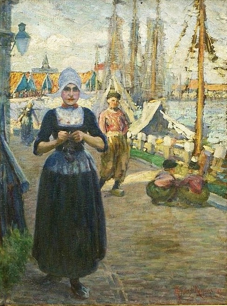 Dutch Woman In The Harbor