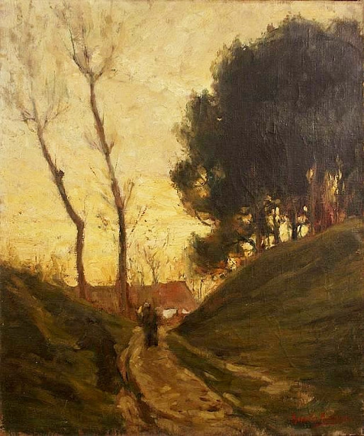 Figure On A Road At Dusk