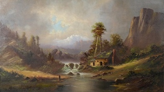 Man Fishing By Near Cabin Under The Mountains