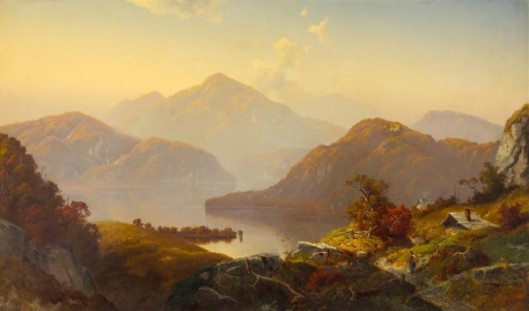 Scottish Loch Scene With Mountains, Figure And Cottage