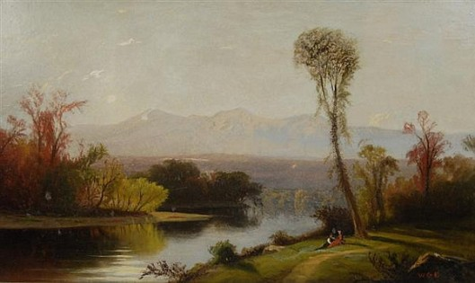 White Mountain Landscape With Figures