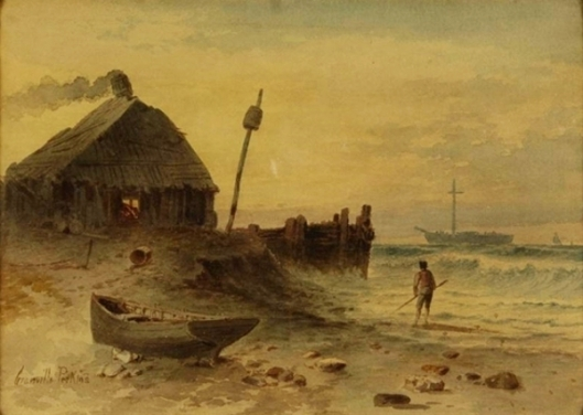 Fishing Hut And Breaking Waves